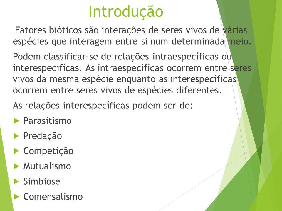 Introdução Fatores bióticos são interações de seres vivos de várias espécies que interagem entre si num determinada meio.