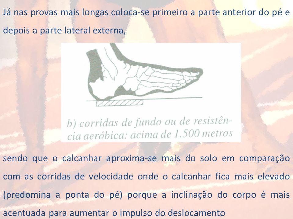 Já nas provas mais longas coloca-se primeiro a parte anterior do pé e depois a parte lateral externa,