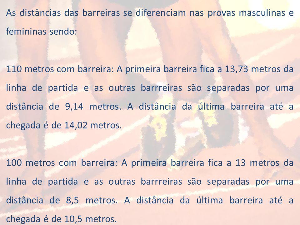 As distâncias das barreiras se diferenciam nas provas masculinas e femininas sendo: