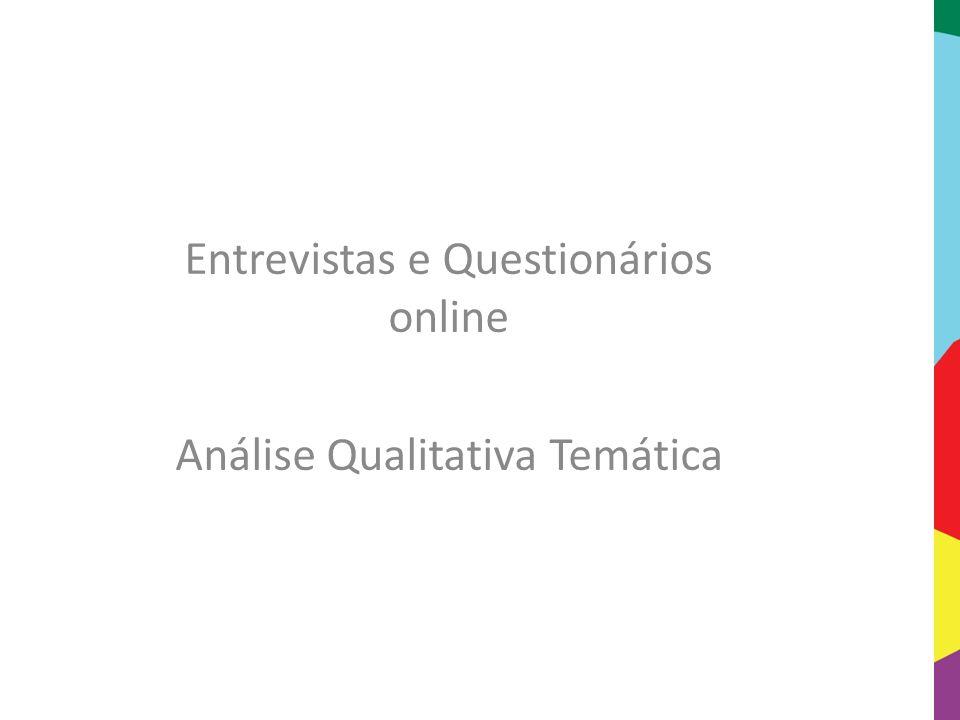 Entrevistas e Questionários online Análise Qualitativa Temática