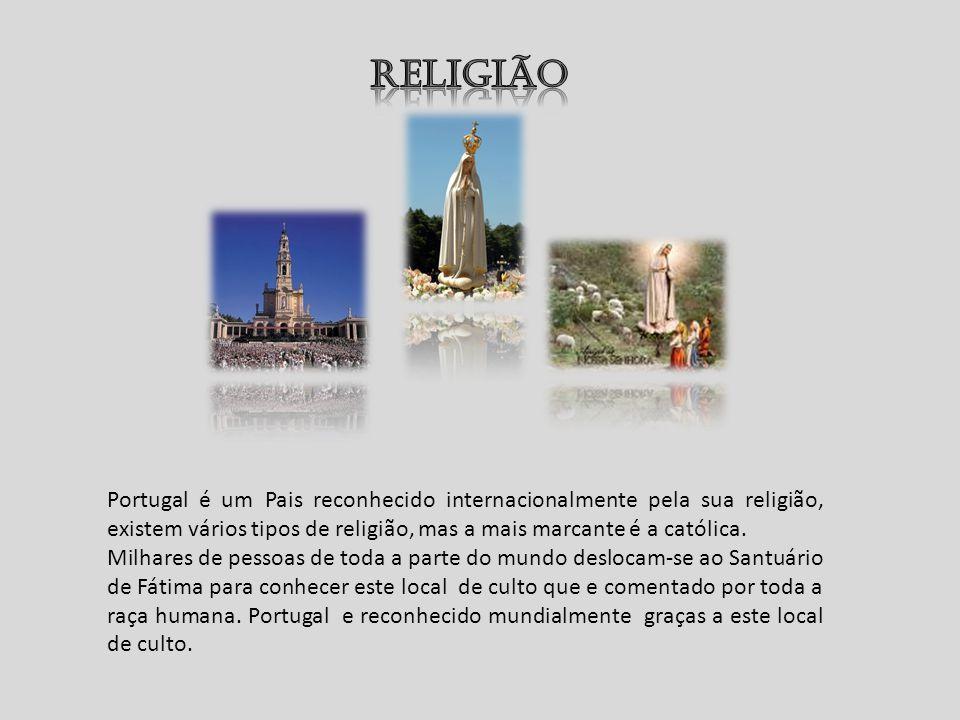 Religião Portugal é um Pais reconhecido internacionalmente pela sua religião, existem vários tipos de religião, mas a mais marcante é a católica.