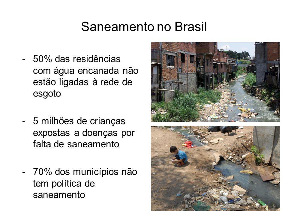 Saneamento no Brasil 50% das residências com água encanada não estão ligadas à rede de esgoto.
