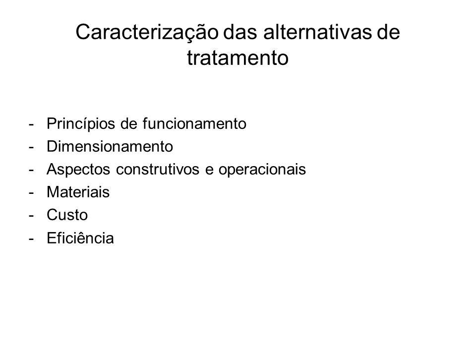 Caracterização das alternativas de tratamento