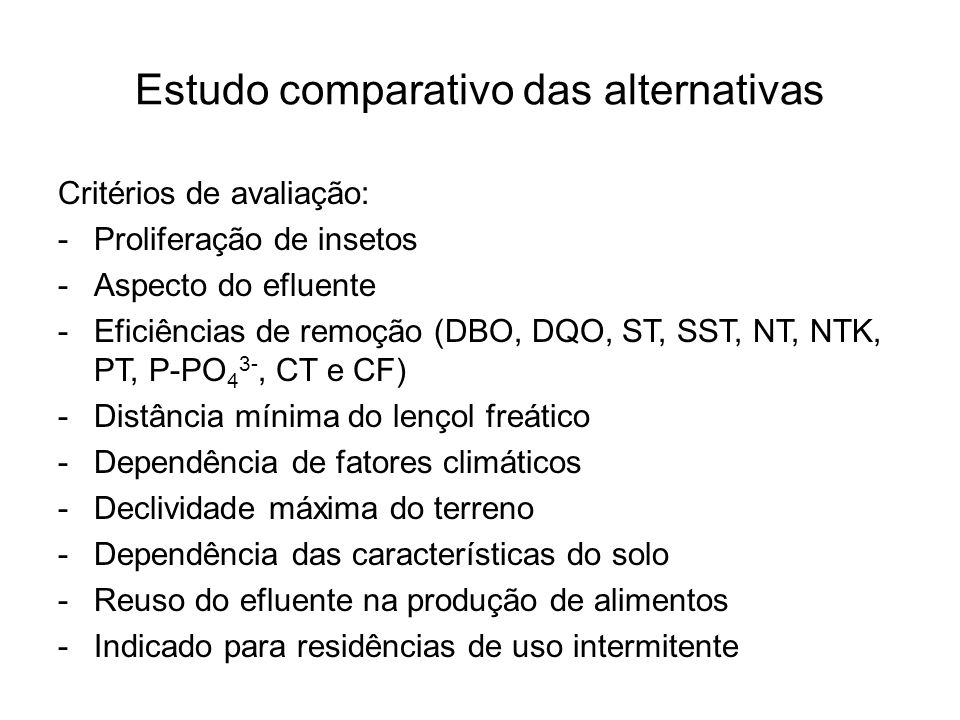Estudo comparativo das alternativas