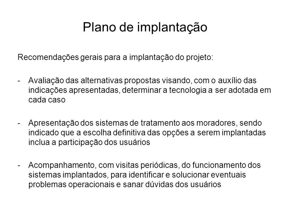 Plano de implantação Recomendações gerais para a implantação do projeto: