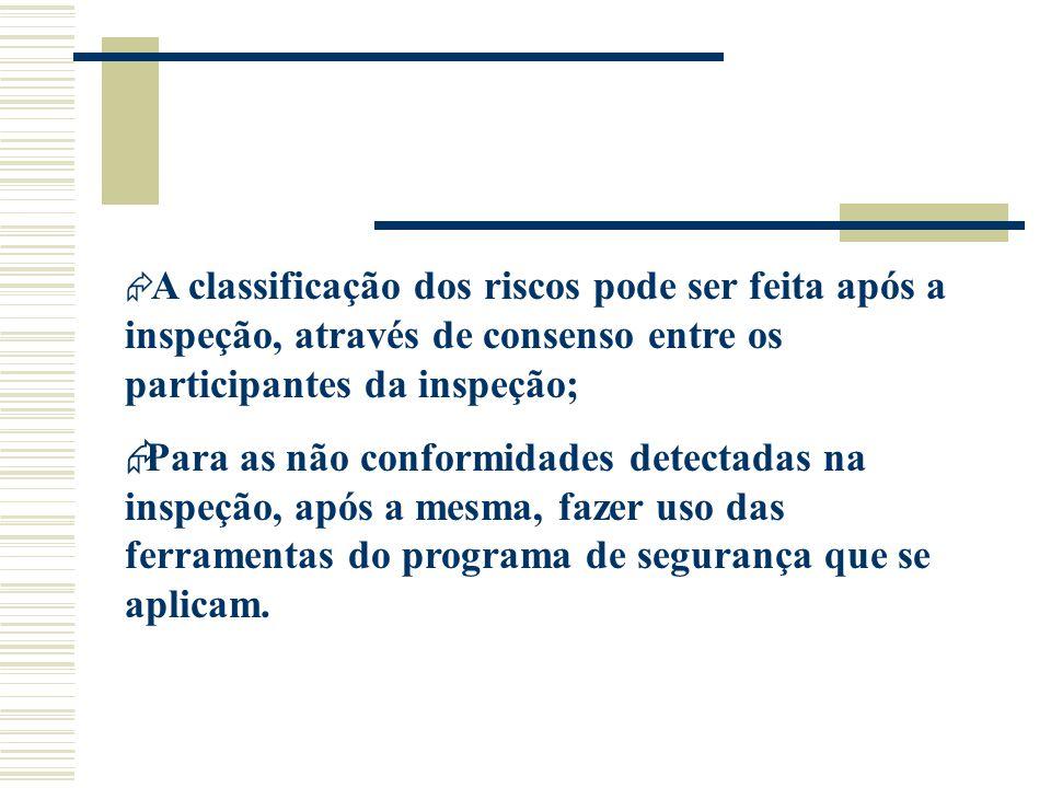 A classificação dos riscos pode ser feita após a inspeção, através de consenso entre os participantes da inspeção;