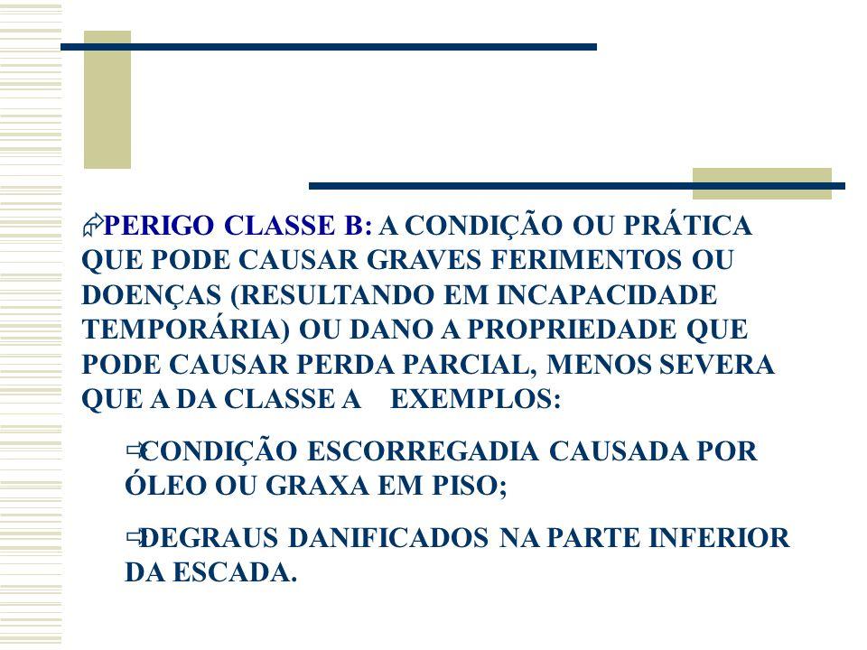 PERIGO CLASSE B: A CONDIÇÃO OU PRÁTICA QUE PODE CAUSAR GRAVES FERIMENTOS OU DOENÇAS (RESULTANDO EM INCAPACIDADE TEMPORÁRIA) OU DANO A PROPRIEDADE QUE PODE CAUSAR PERDA PARCIAL, MENOS SEVERA QUE A DA CLASSE A EXEMPLOS: