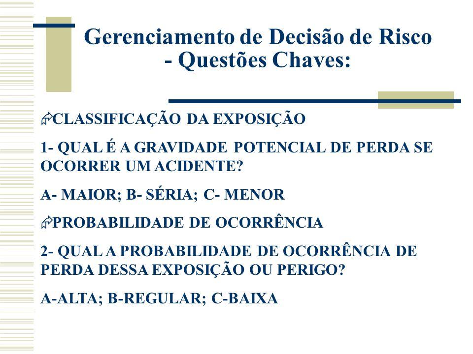 Gerenciamento de Decisão de Risco - Questões Chaves:
