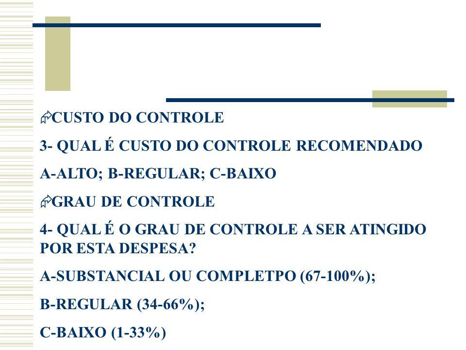 CUSTO DO CONTROLE 3- QUAL É CUSTO DO CONTROLE RECOMENDADO. A-ALTO; B-REGULAR; C-BAIXO. GRAU DE CONTROLE.