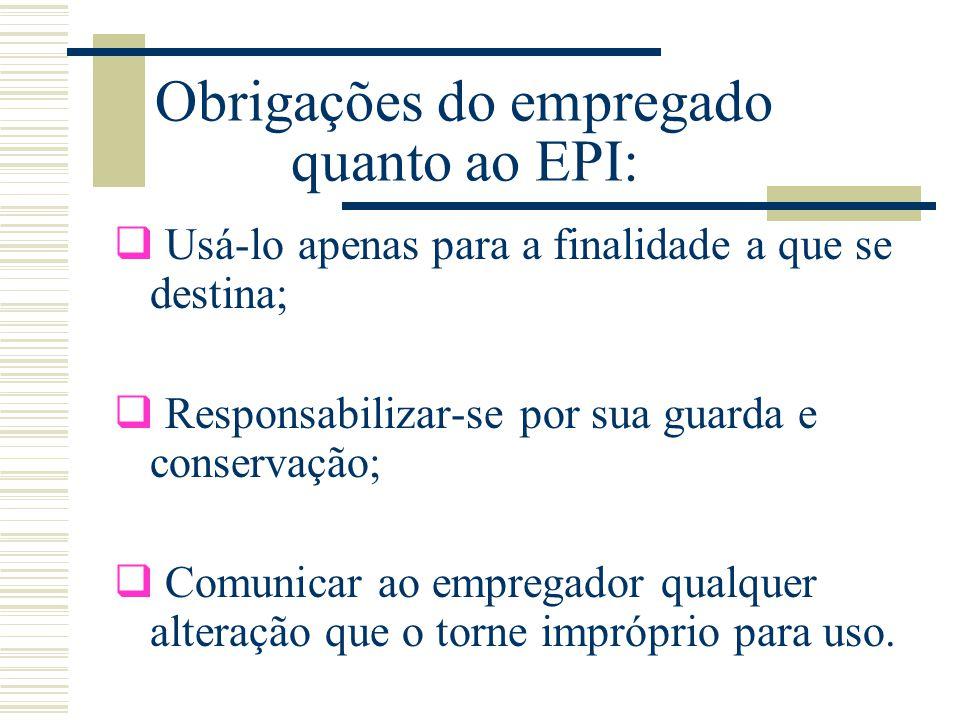 Obrigações do empregado quanto ao EPI: