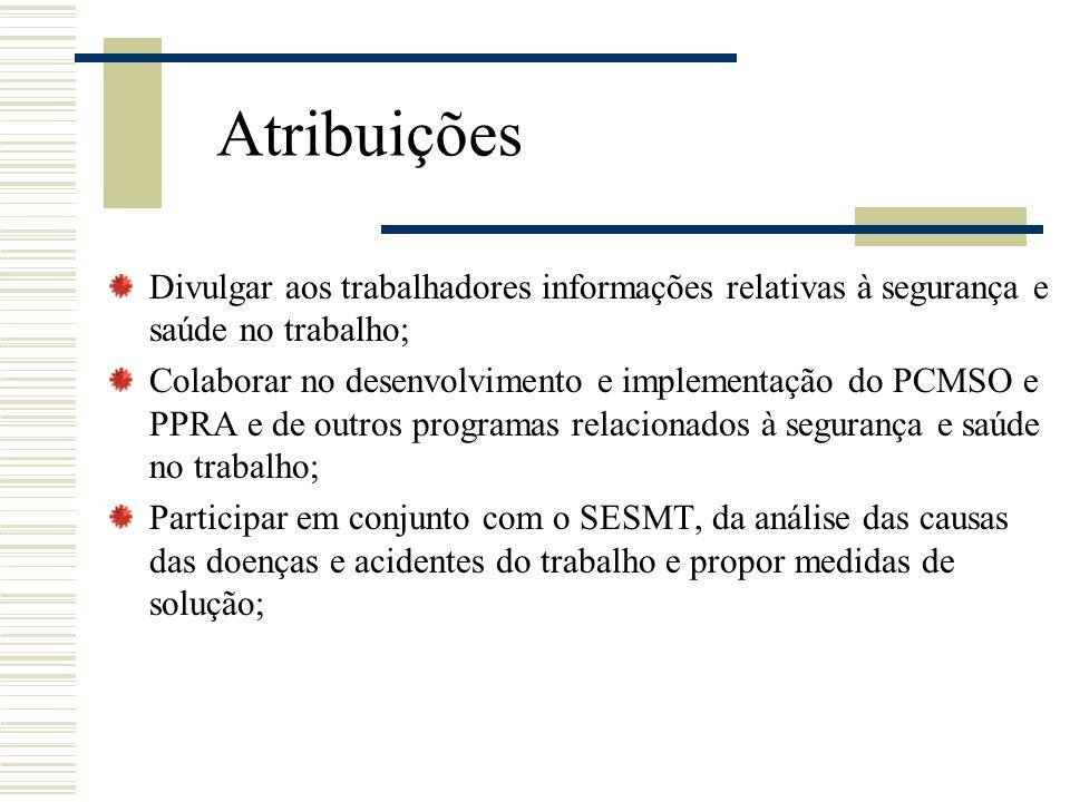 Atribuições Divulgar aos trabalhadores informações relativas à segurança e saúde no trabalho;