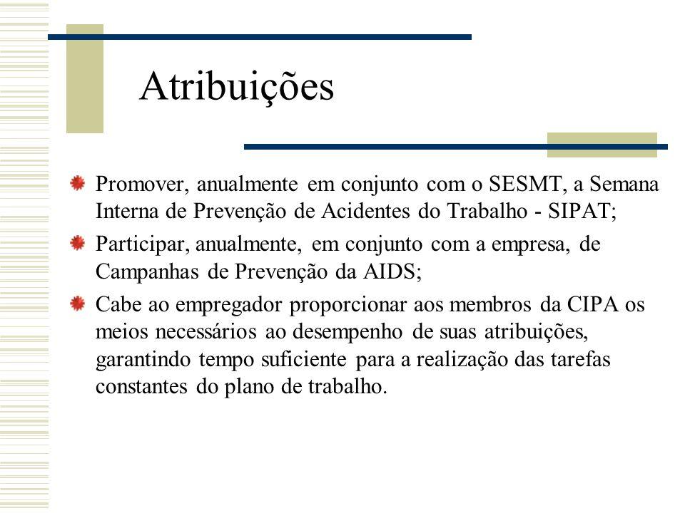 Atribuições Promover, anualmente em conjunto com o SESMT, a Semana Interna de Prevenção de Acidentes do Trabalho - SIPAT;