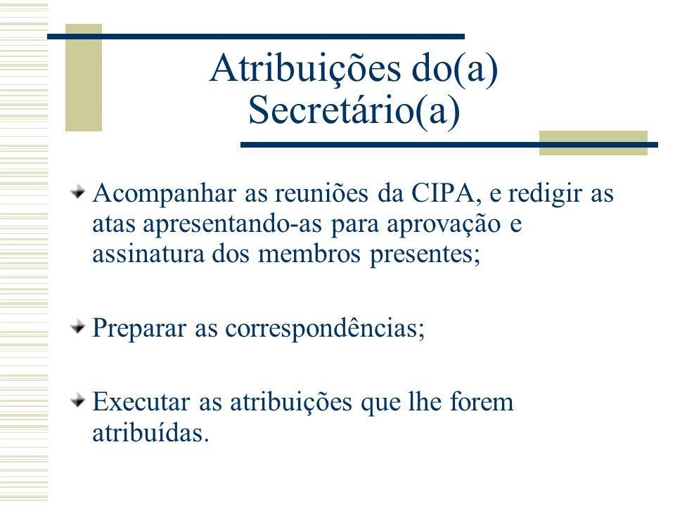 Atribuições do(a) Secretário(a)