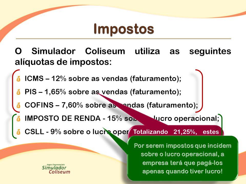 Impostos O Simulador Coliseum utiliza as seguintes alíquotas de impostos: ICMS – 12% sobre as vendas (faturamento);