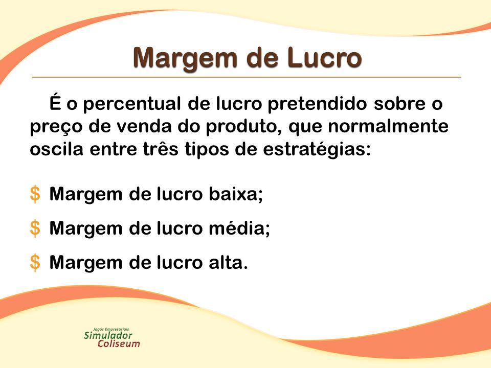 Margem de Lucro É o percentual de lucro pretendido sobre o preço de venda do produto, que normalmente oscila entre três tipos de estratégias: