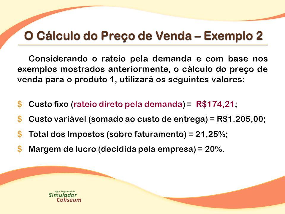 O Cálculo do Preço de Venda – Exemplo 2