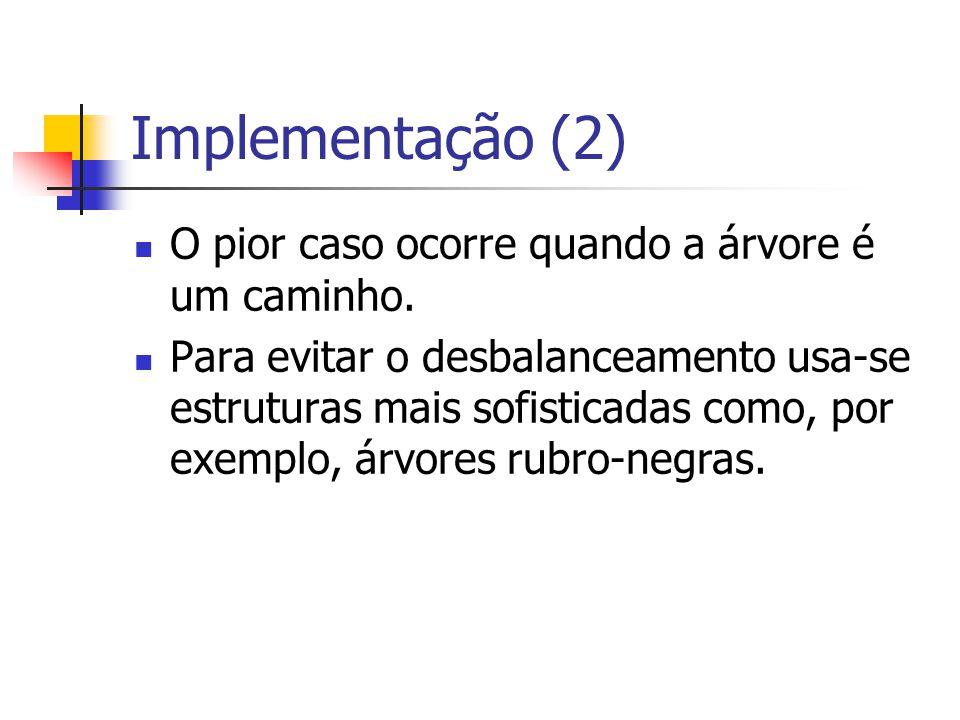 Implementação (2) O pior caso ocorre quando a árvore é um caminho.
