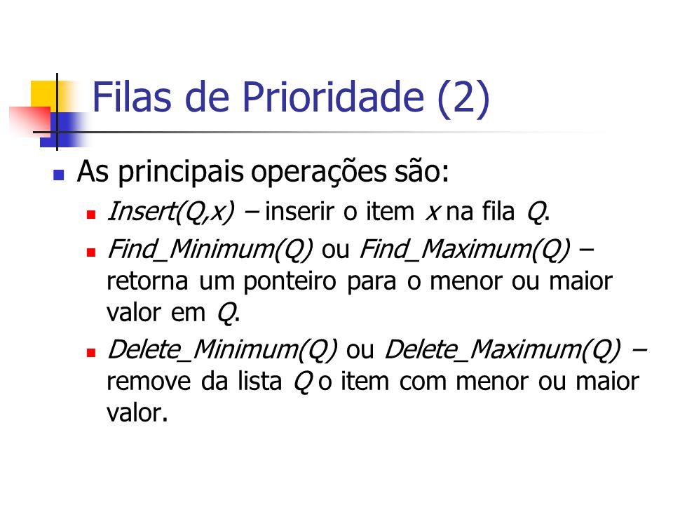 Filas de Prioridade (2) As principais operações são: