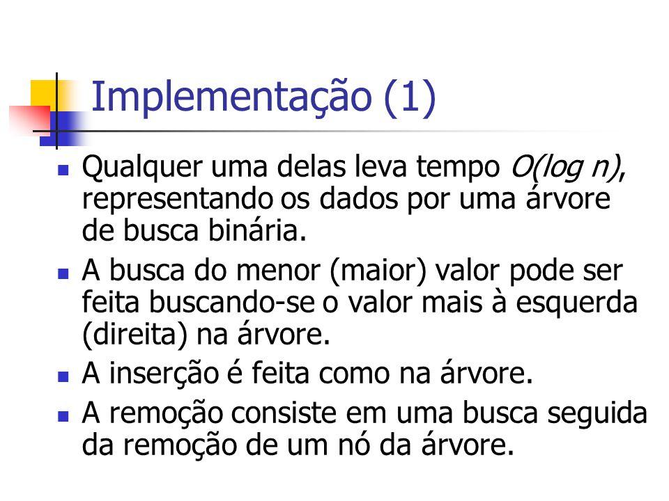 Implementação (1) Qualquer uma delas leva tempo O(log n), representando os dados por uma árvore de busca binária.