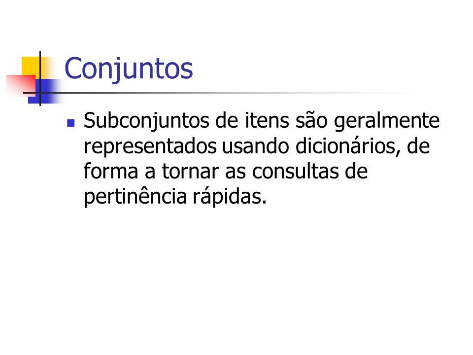 Conjuntos Subconjuntos de itens são geralmente representados usando dicionários, de forma a tornar as consultas de pertinência rápidas.