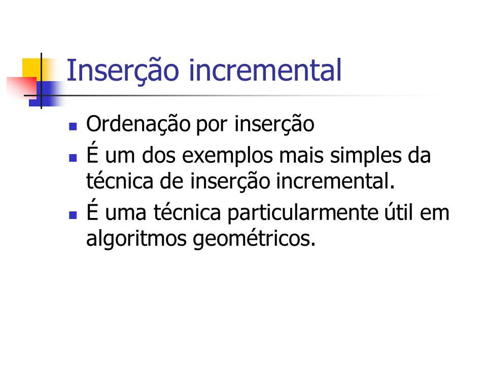 Inserção incremental Ordenação por inserção
