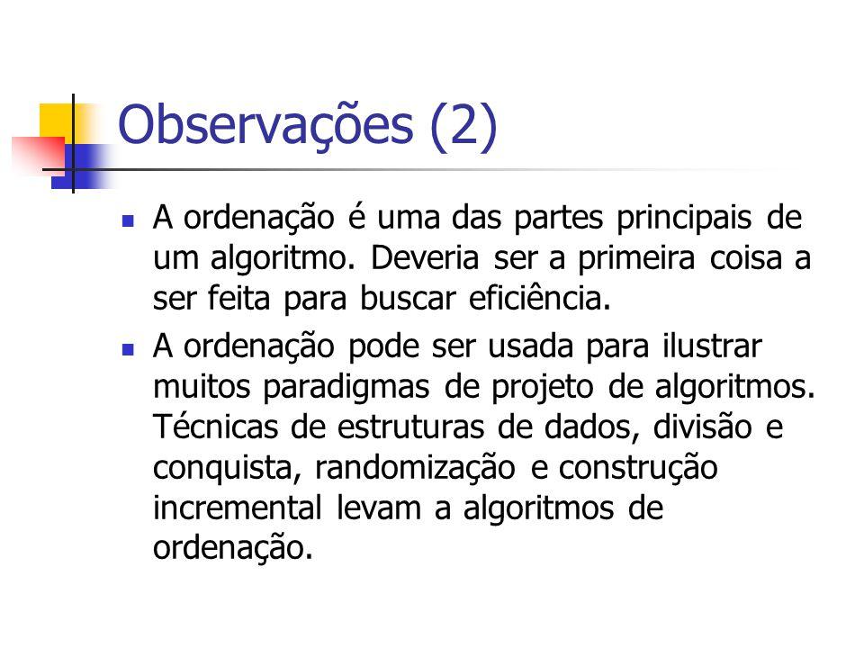 Observações (2) A ordenação é uma das partes principais de um algoritmo. Deveria ser a primeira coisa a ser feita para buscar eficiência.
