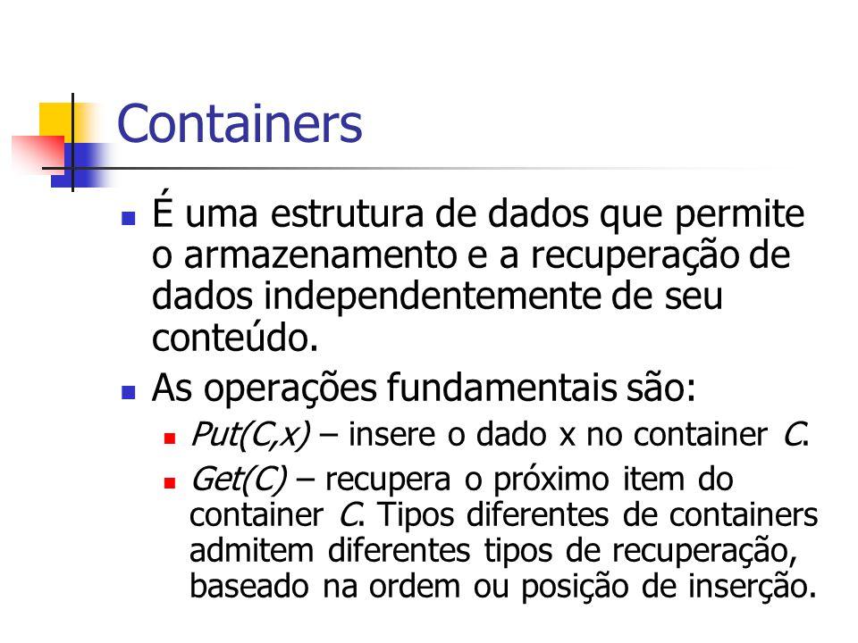 Containers É uma estrutura de dados que permite o armazenamento e a recuperação de dados independentemente de seu conteúdo.