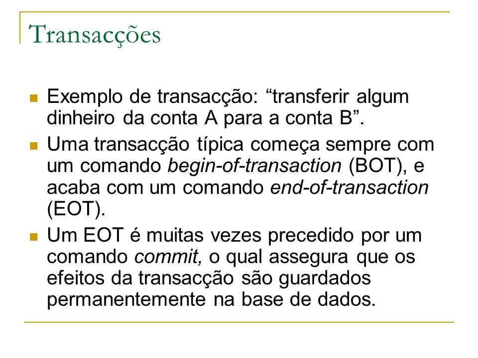 Transacções Exemplo de transacção: transferir algum dinheiro da conta A para a conta B .
