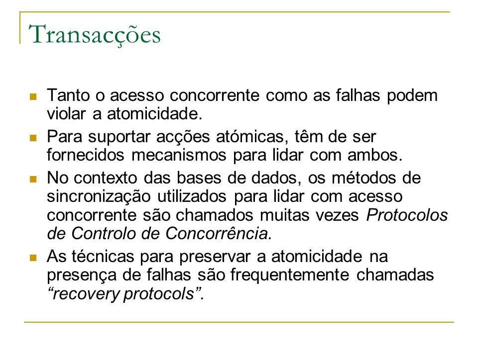 Transacções Tanto o acesso concorrente como as falhas podem violar a atomicidade.