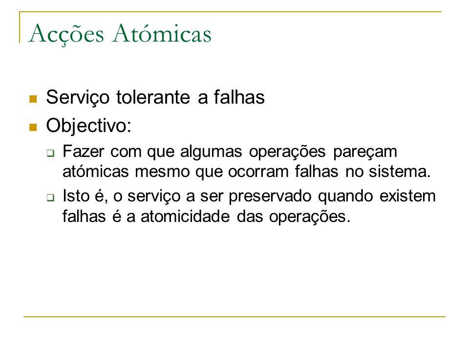 Acções Atómicas Serviço tolerante a falhas Objectivo: