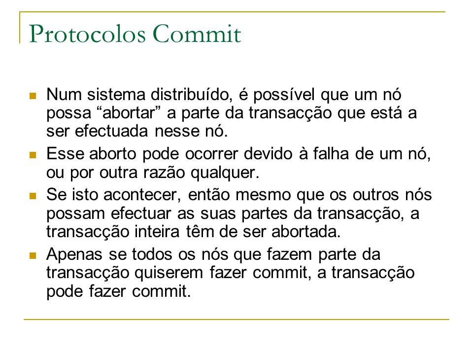 Protocolos Commit Num sistema distribuído, é possível que um nó possa abortar a parte da transacção que está a ser efectuada nesse nó.