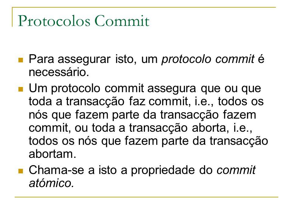 Protocolos Commit Para assegurar isto, um protocolo commit é necessário.