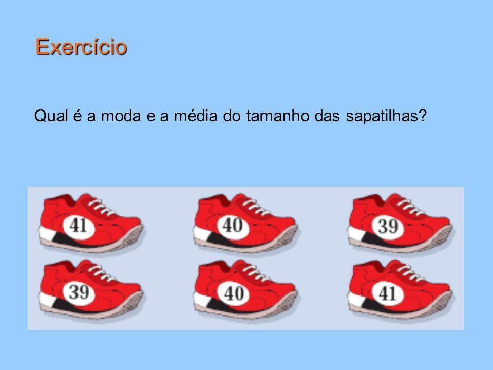 Exercício Qual é a moda e a média do tamanho das sapatilhas