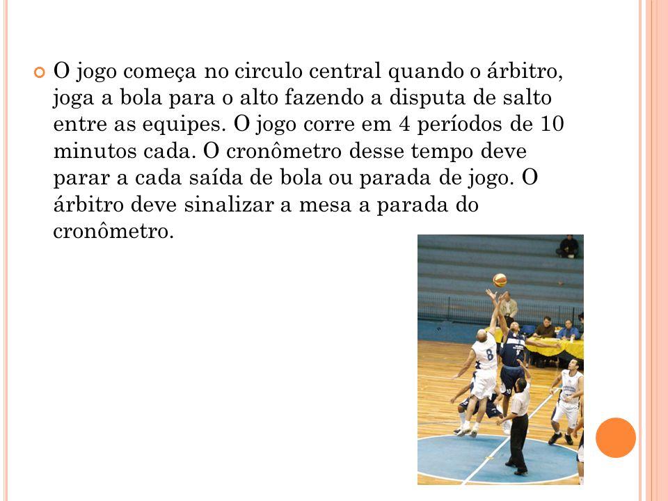 O jogo começa no circulo central quando o árbitro, joga a bola para o alto fazendo a disputa de salto entre as equipes.