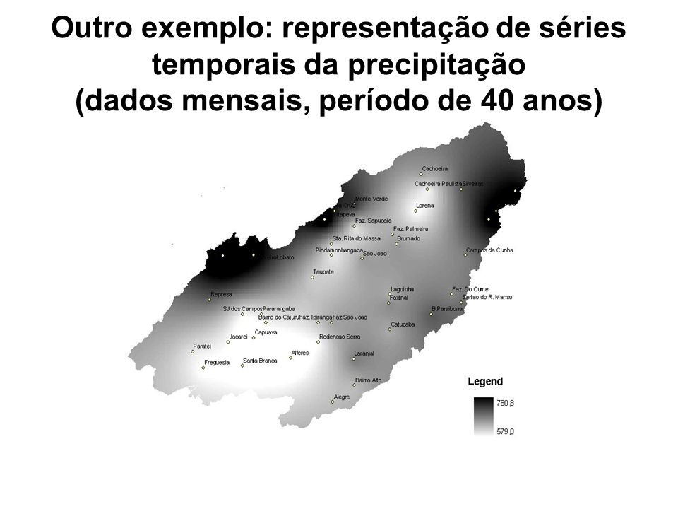 Outro exemplo: representação de séries temporais da precipitação (dados mensais, período de 40 anos)