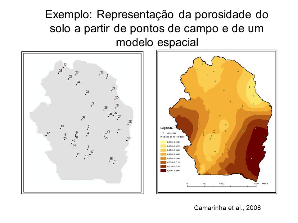 Exemplo: Representação da porosidade do solo a partir de pontos de campo e de um modelo espacial