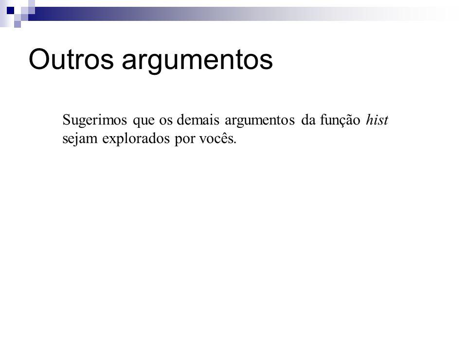 Outros argumentos Sugerimos que os demais argumentos da função hist