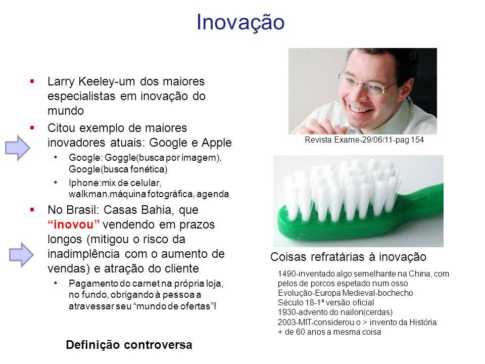 Inovação Larry Keeley-um dos maiores especialistas em inovação do mundo. Citou exemplo de maiores inovadores atuais: Google e Apple.