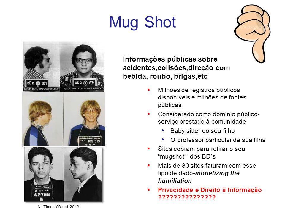 Mug Shot Informações públicas sobre acidentes,colisões,direção com bebida, roubo, brigas,etc.