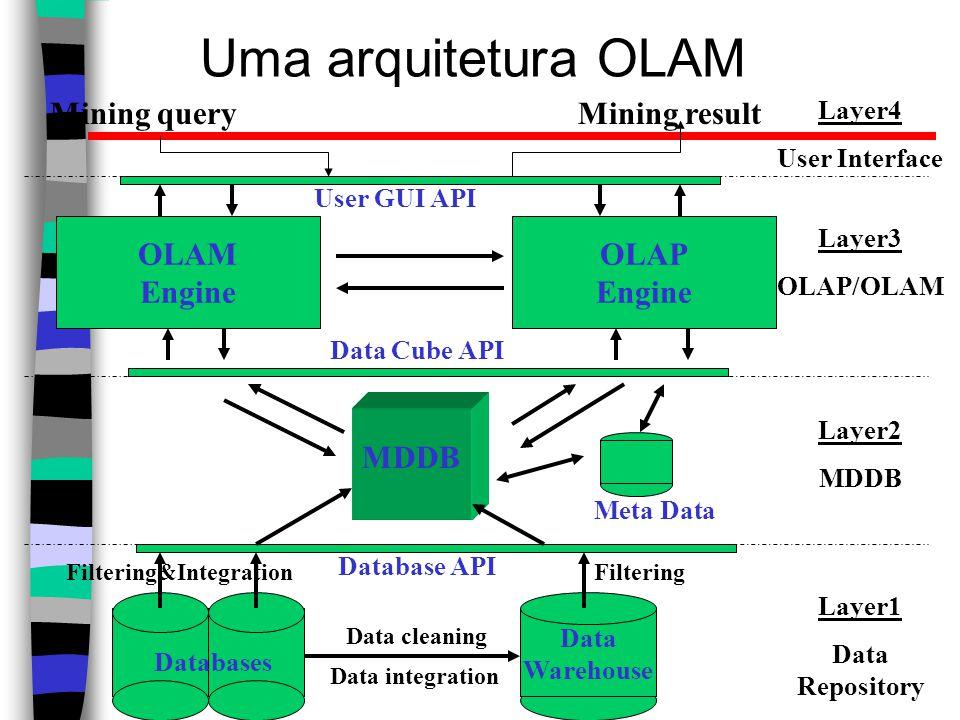Uma arquitetura OLAM Mining query Mining result OLAM Engine OLAP