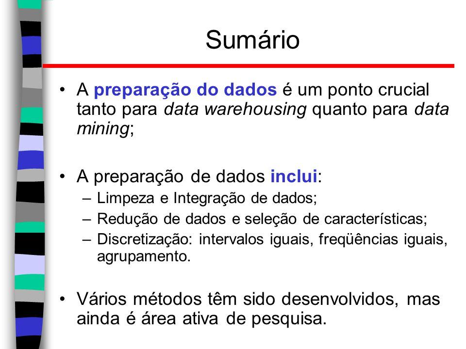 Sumário A preparação do dados é um ponto crucial tanto para data warehousing quanto para data mining;