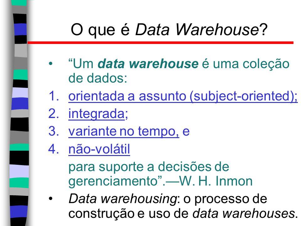 O que é Data Warehouse Um data warehouse é uma coleção de dados: