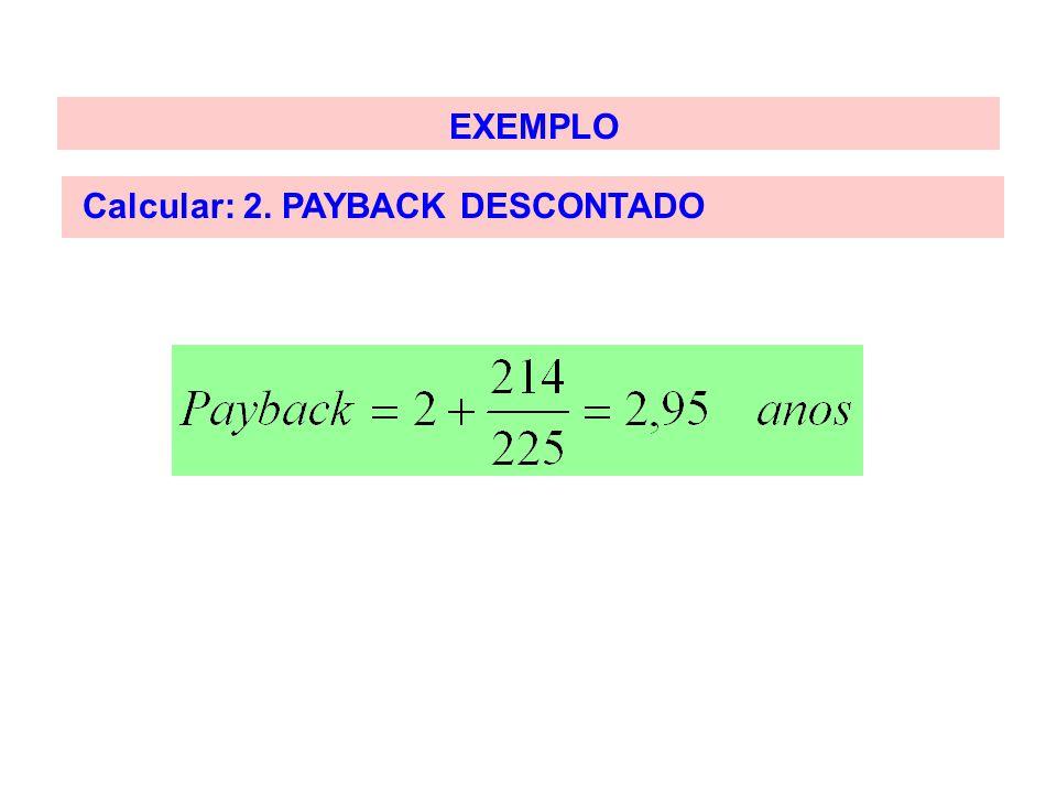 EXEMPLO Calcular: 2. PAYBACK DESCONTADO