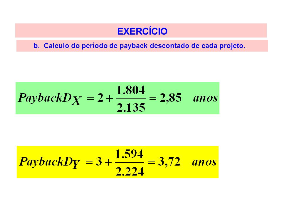 EXERCÍCIO b. Calculo do período de payback descontado de cada projeto.