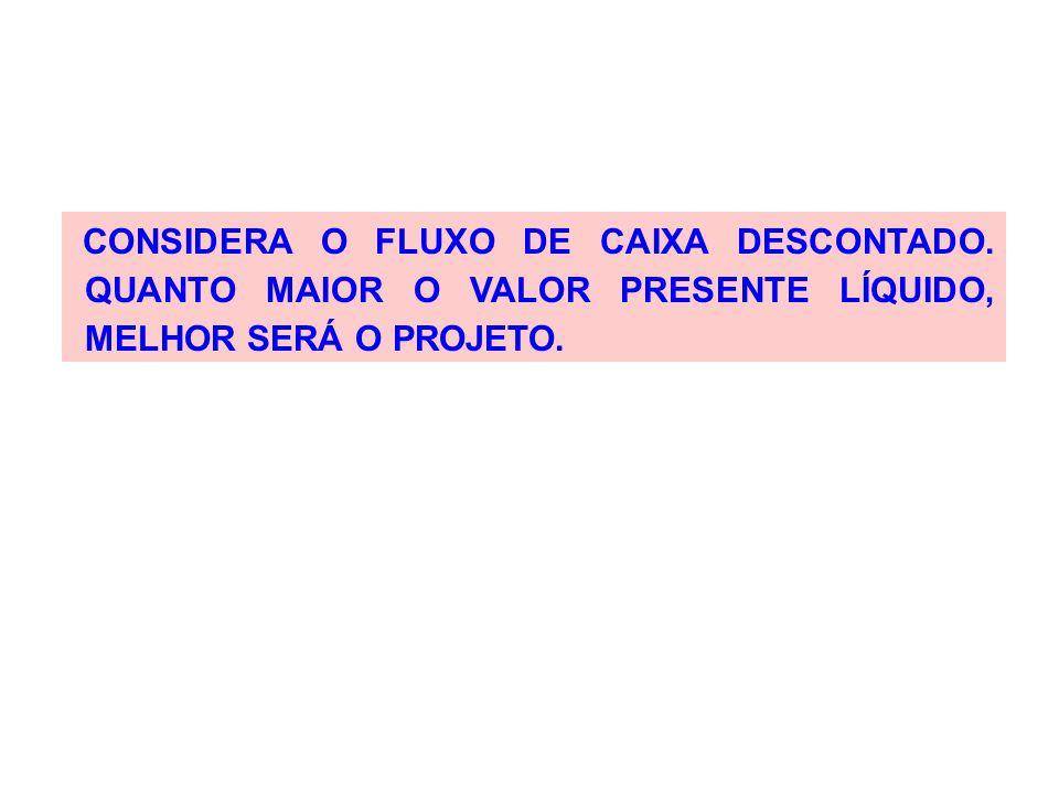 CONSIDERA O FLUXO DE CAIXA DESCONTADO