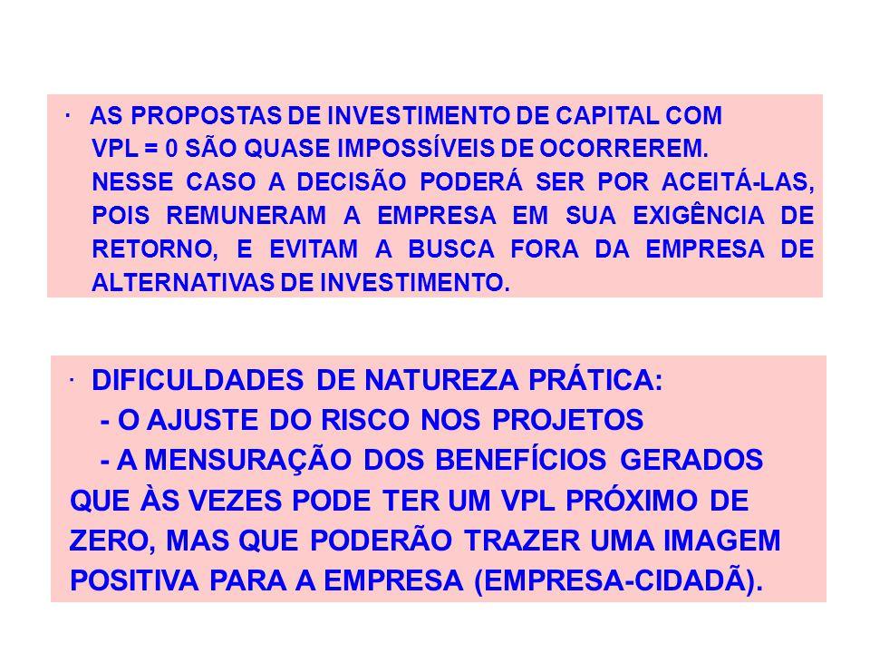 · DIFICULDADES DE NATUREZA PRÁTICA: - O AJUSTE DO RISCO NOS PROJETOS