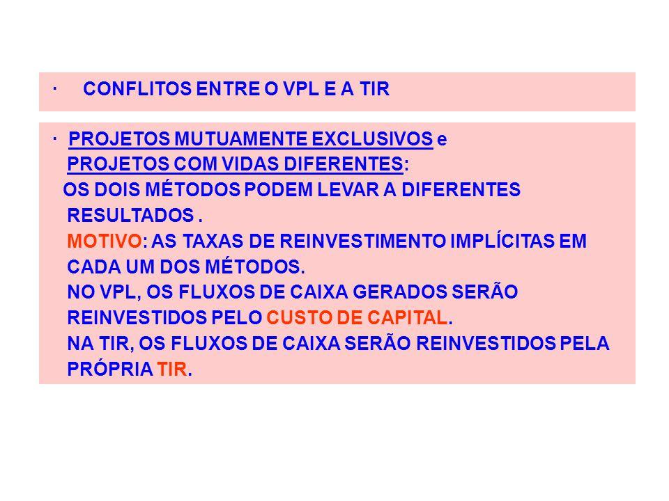 · CONFLITOS ENTRE O VPL E A TIR