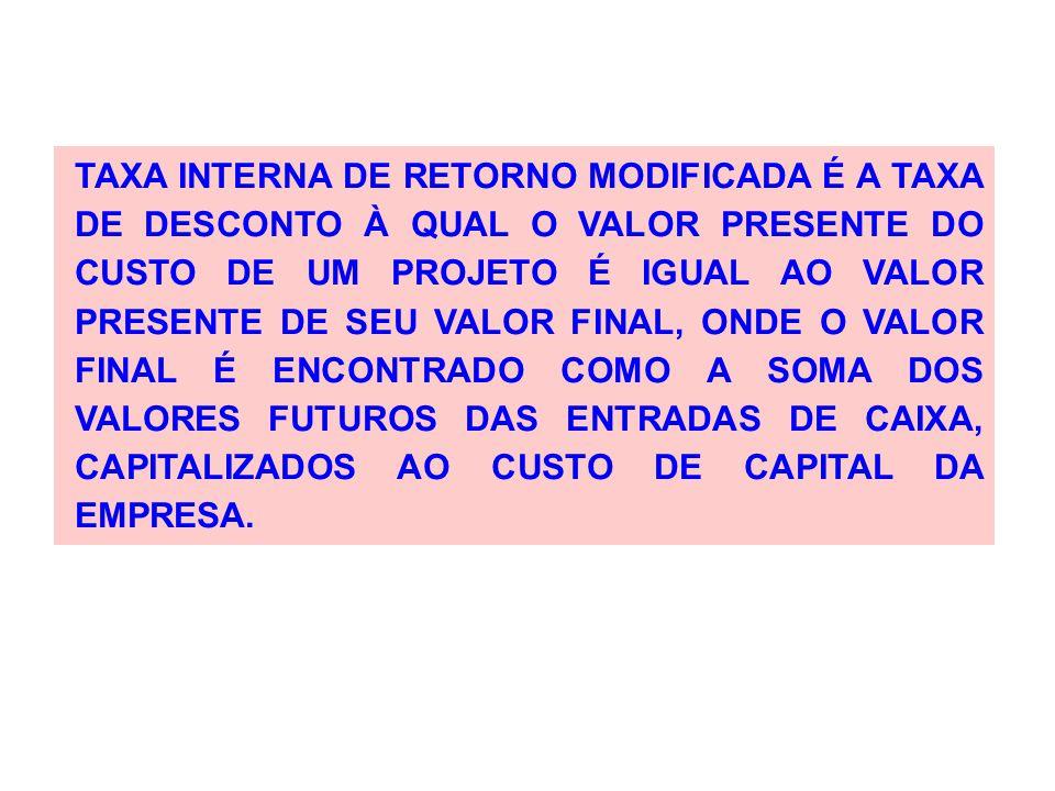 TAXA INTERNA DE RETORNO MODIFICADA É A TAXA DE DESCONTO À QUAL O VALOR PRESENTE DO CUSTO DE UM PROJETO É IGUAL AO VALOR PRESENTE DE SEU VALOR FINAL, ONDE O VALOR FINAL É ENCONTRADO COMO A SOMA DOS VALORES FUTUROS DAS ENTRADAS DE CAIXA, CAPITALIZADOS AO CUSTO DE CAPITAL DA EMPRESA.