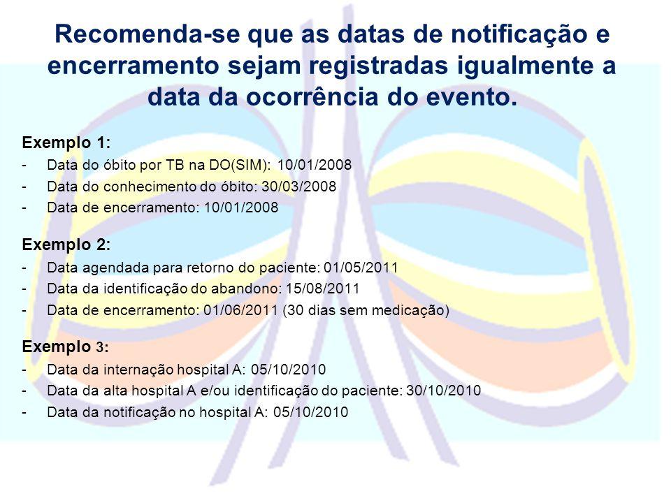 Recomenda-se que as datas de notificação e encerramento sejam registradas igualmente a data da ocorrência do evento.