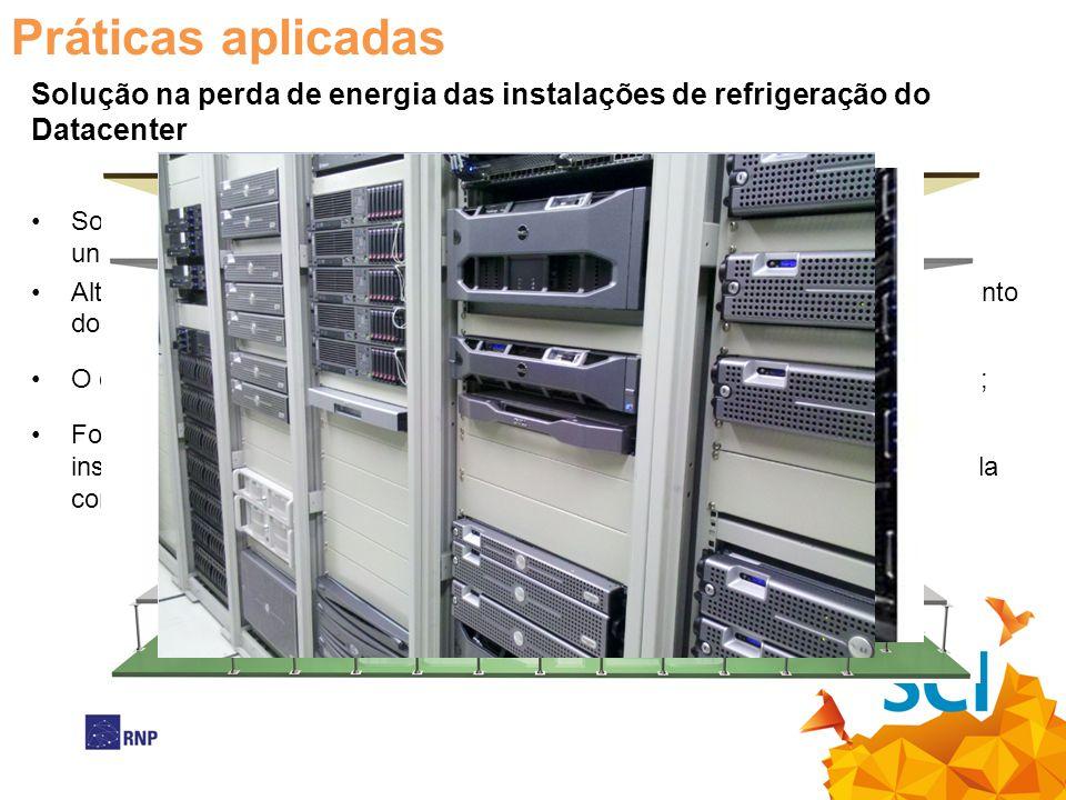 Práticas aplicadas Solução na perda de energia das instalações de refrigeração do Datacenter.